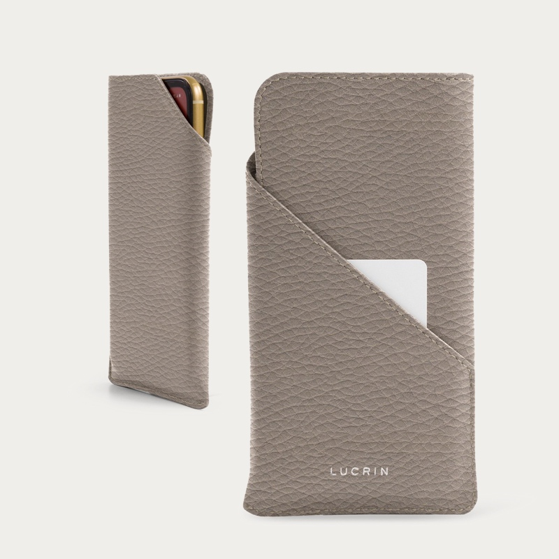Designer phone case for iPhone 11 Pro - Light Taupe - Granulated Leather