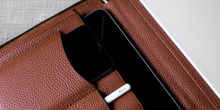 Luxury A4 Portfolio Folder - Tan - Granulated Leather