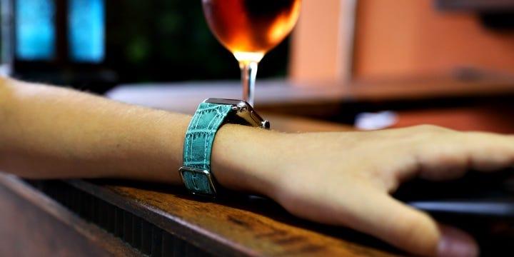 Apple Watch Series 4 Watch Band - (40 mm) - Turquoise - Crocodile style calfskin